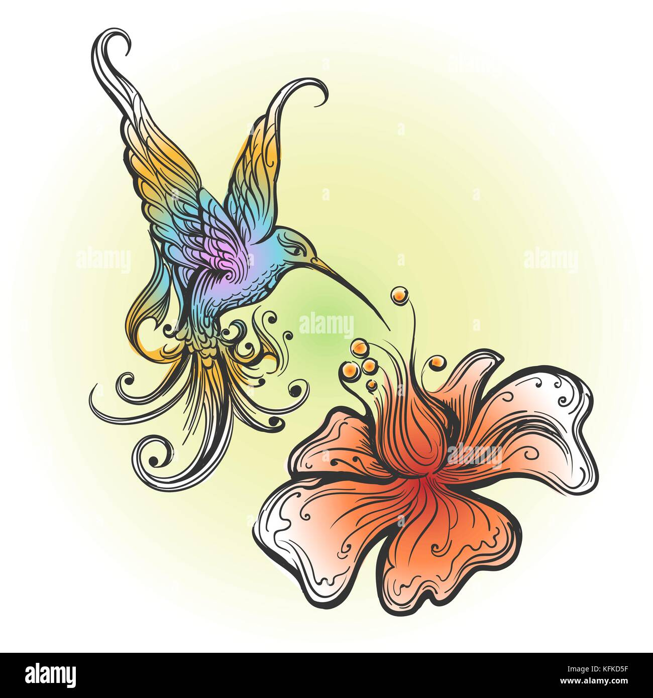 Flying Hummingbird Sipping Nectar From Flower Drawn In Tattoo Style
