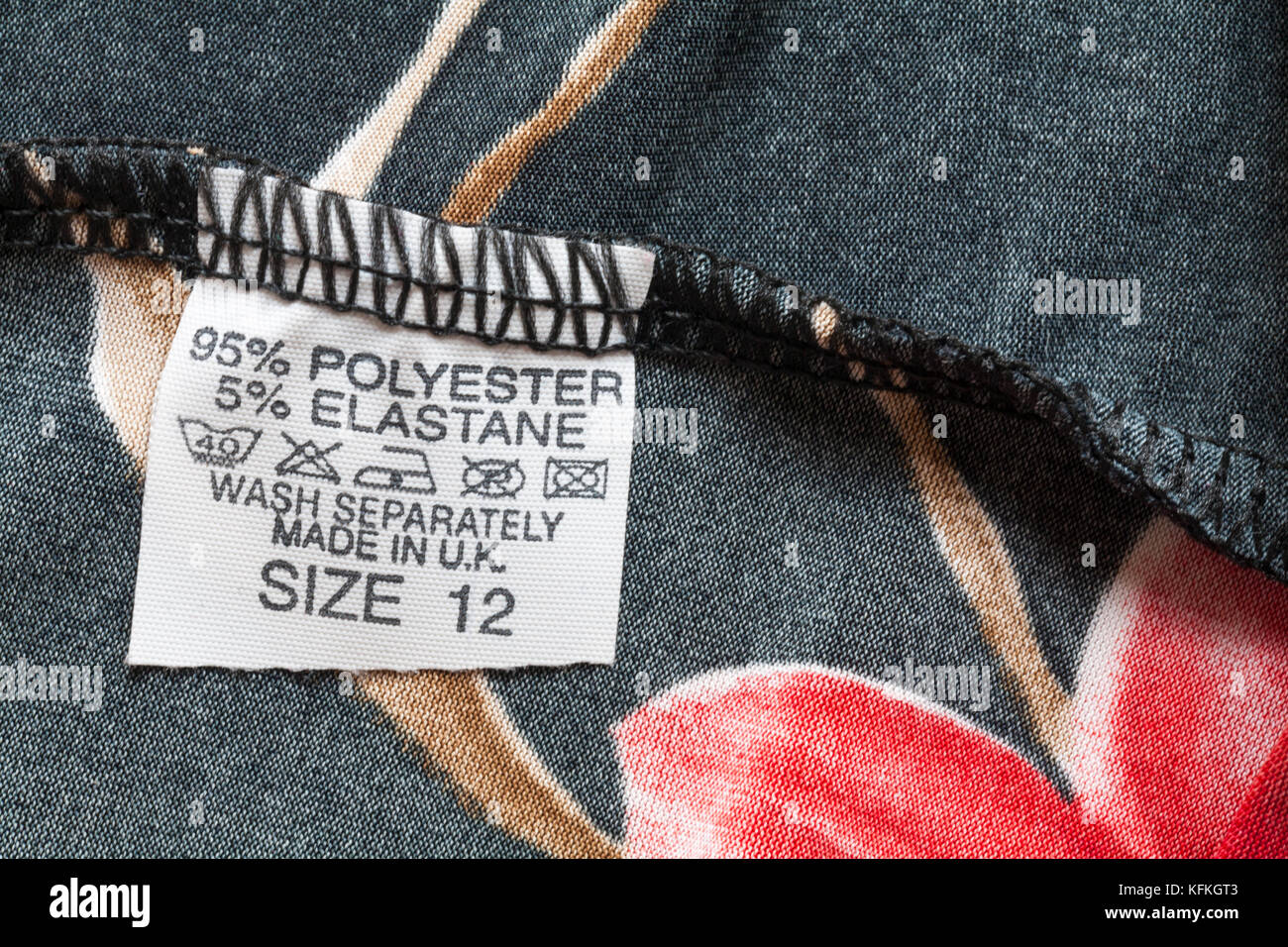 96 Polyester 5 Elastane Label In Womans Top Size 12 Made In Uk