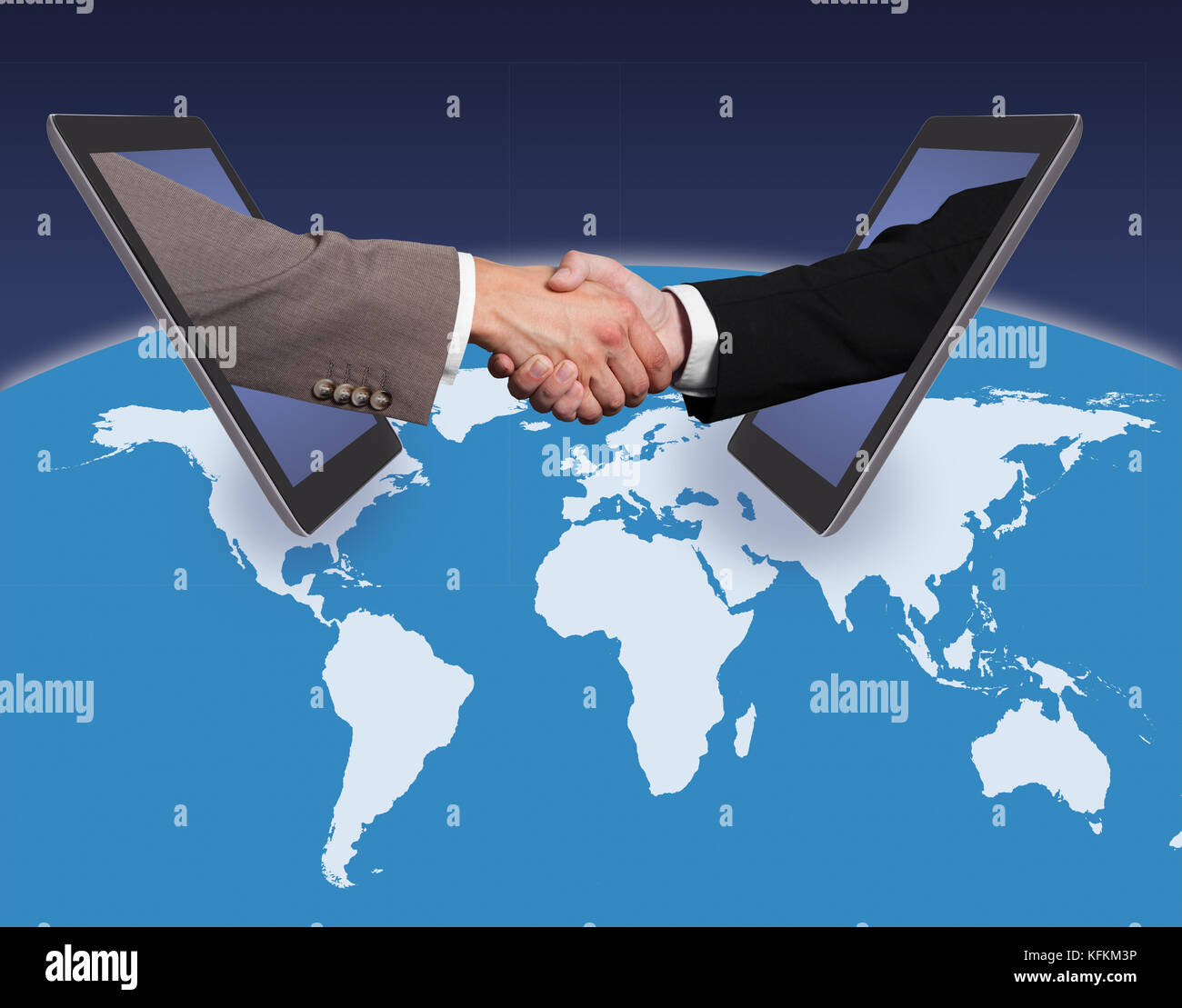 Business handshake emerging from digital tablets on world map business handshake emerging from digital tablets on world map against blue background source of reference map httpvisibleearthsaviewp sciox Image collections