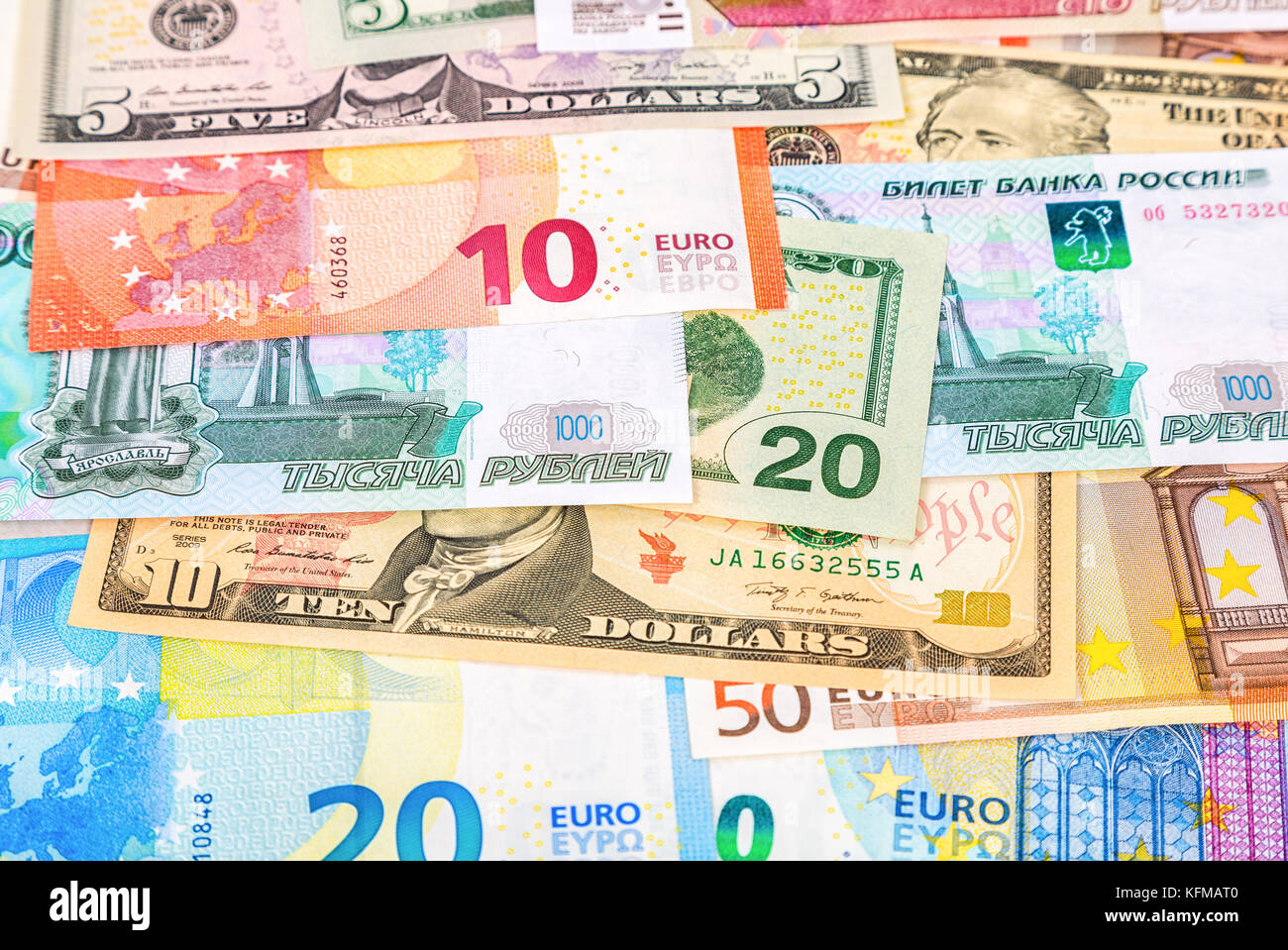 Money Background From Banknotes Euro American Dollars And Russian Rubles