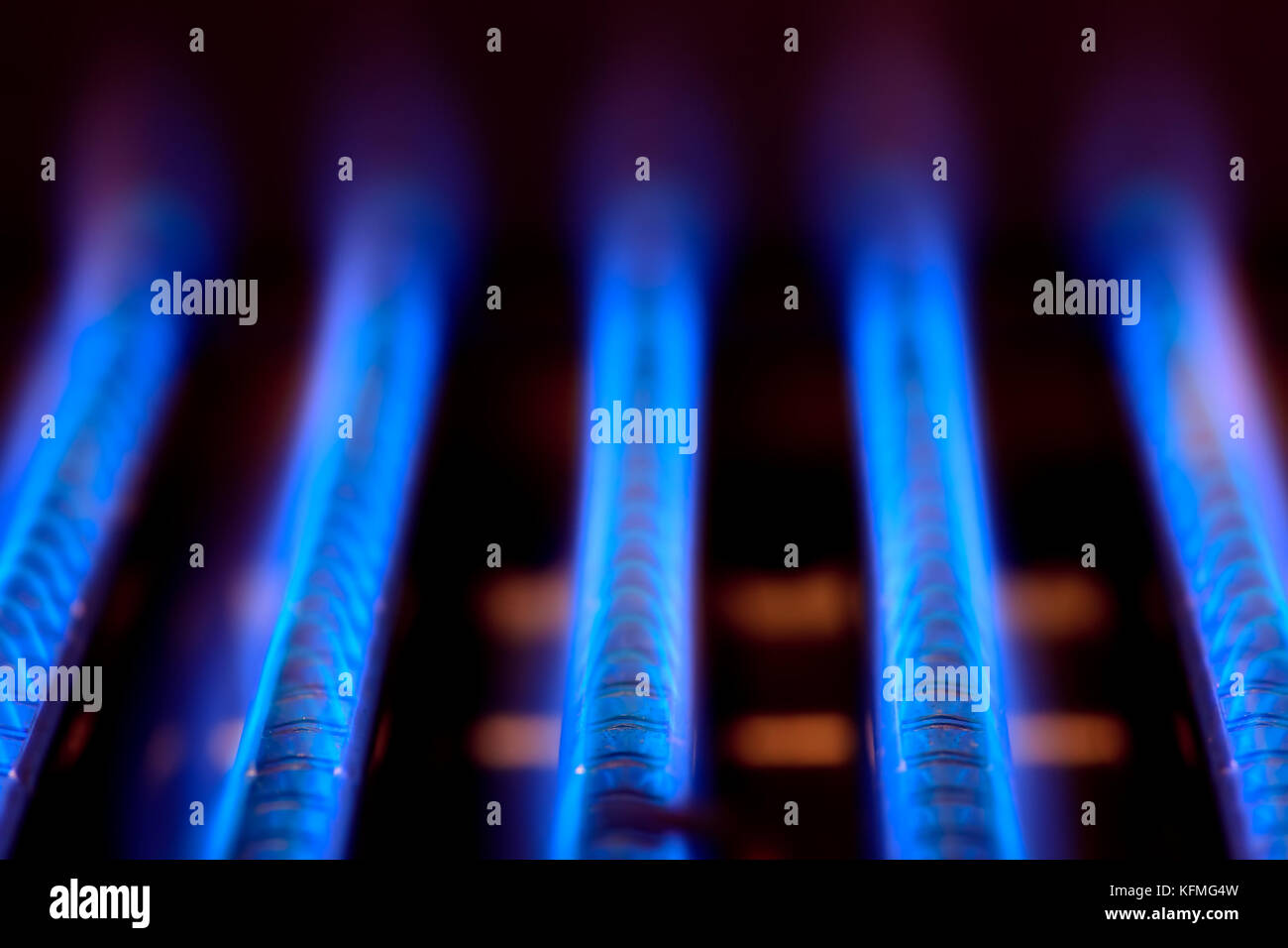 Domestic energy fire flame fossil fuel gas glow glowing stock blue flames of a gas burner inside of a boiler stock image buycottarizona