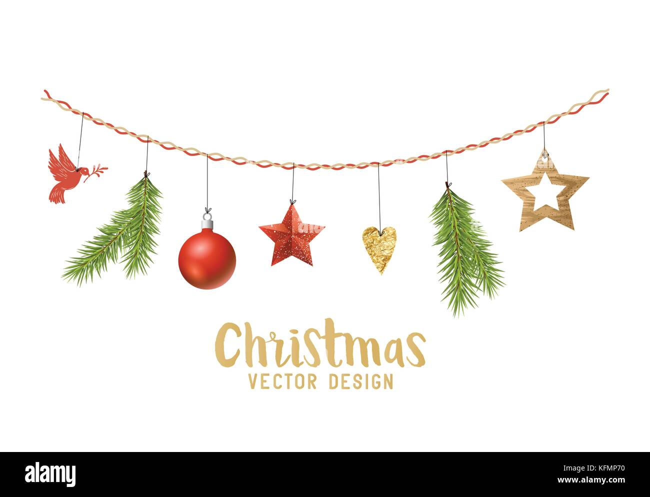 Hanging Christmas Decorations Composition With Fir Tree