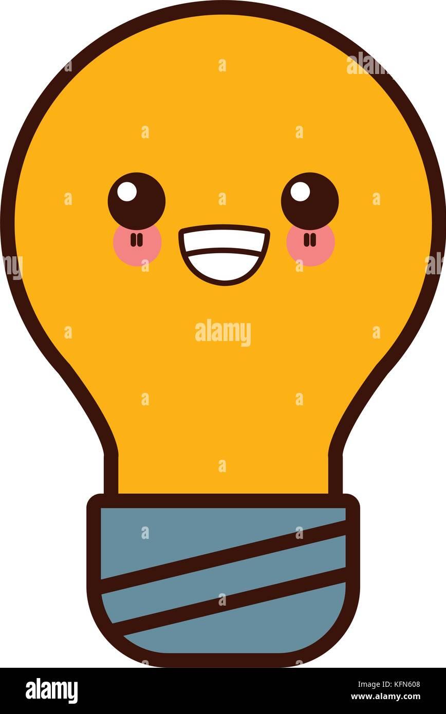 bulb light energy cute kawaii cartoon stock vector art