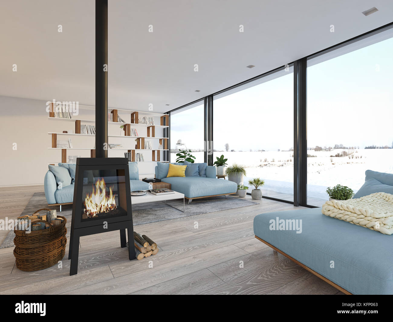 3d Rendering. Living Room With Cast Iron Fireplace In Modern ...