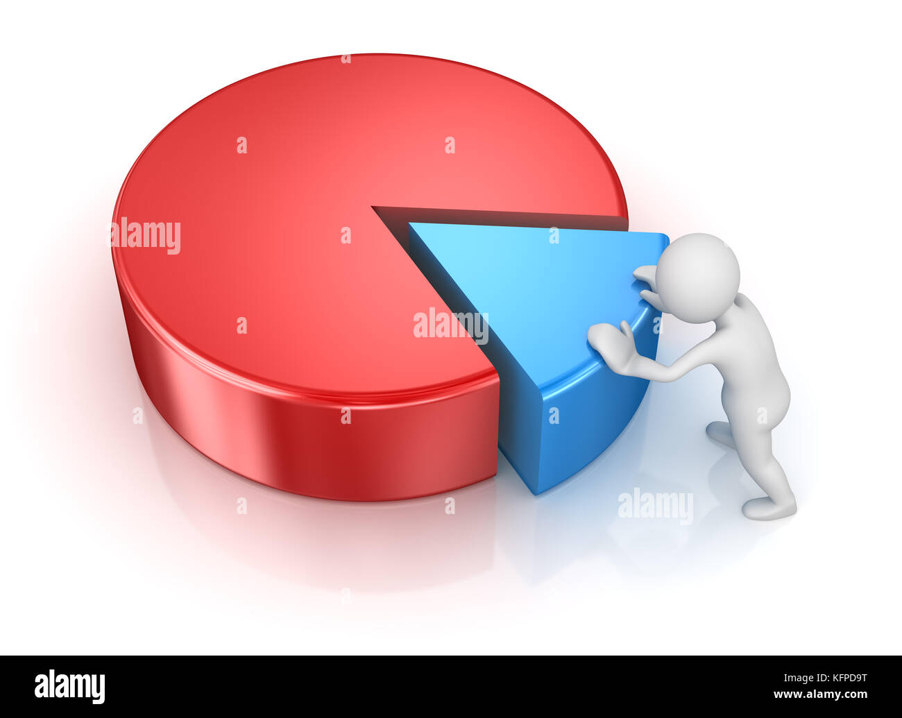 Blue pie chart stock photos blue pie chart stock images alamy business man pushing to pie chart piece 3d render and computer generated image geenschuldenfo Image collections