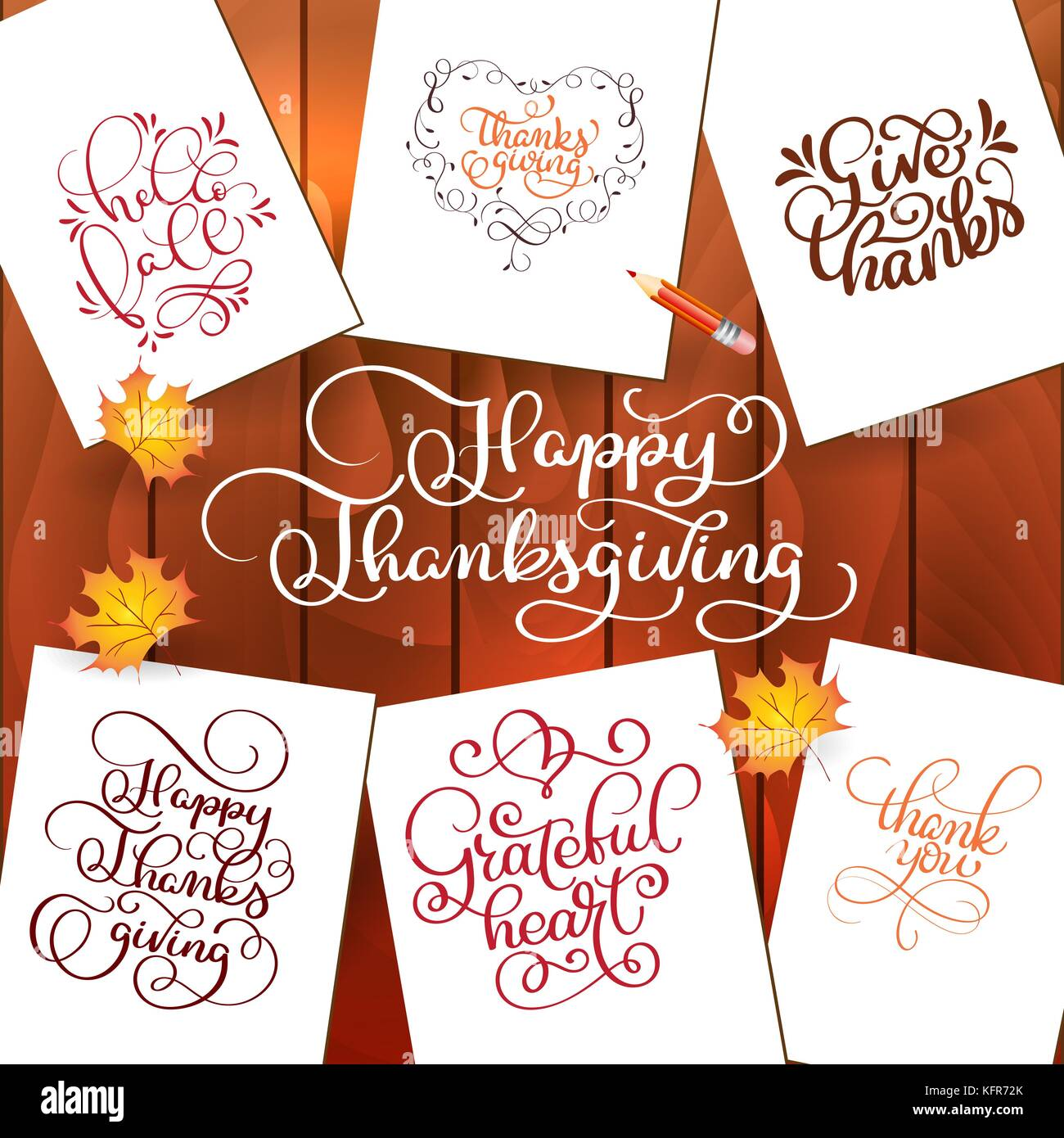Set Of Hand Drawn Thanksgiving Day Texts Celebration Quotes Happy Thanksgiving Hello Fale Giving Thanks Grateful Heart Thank You
