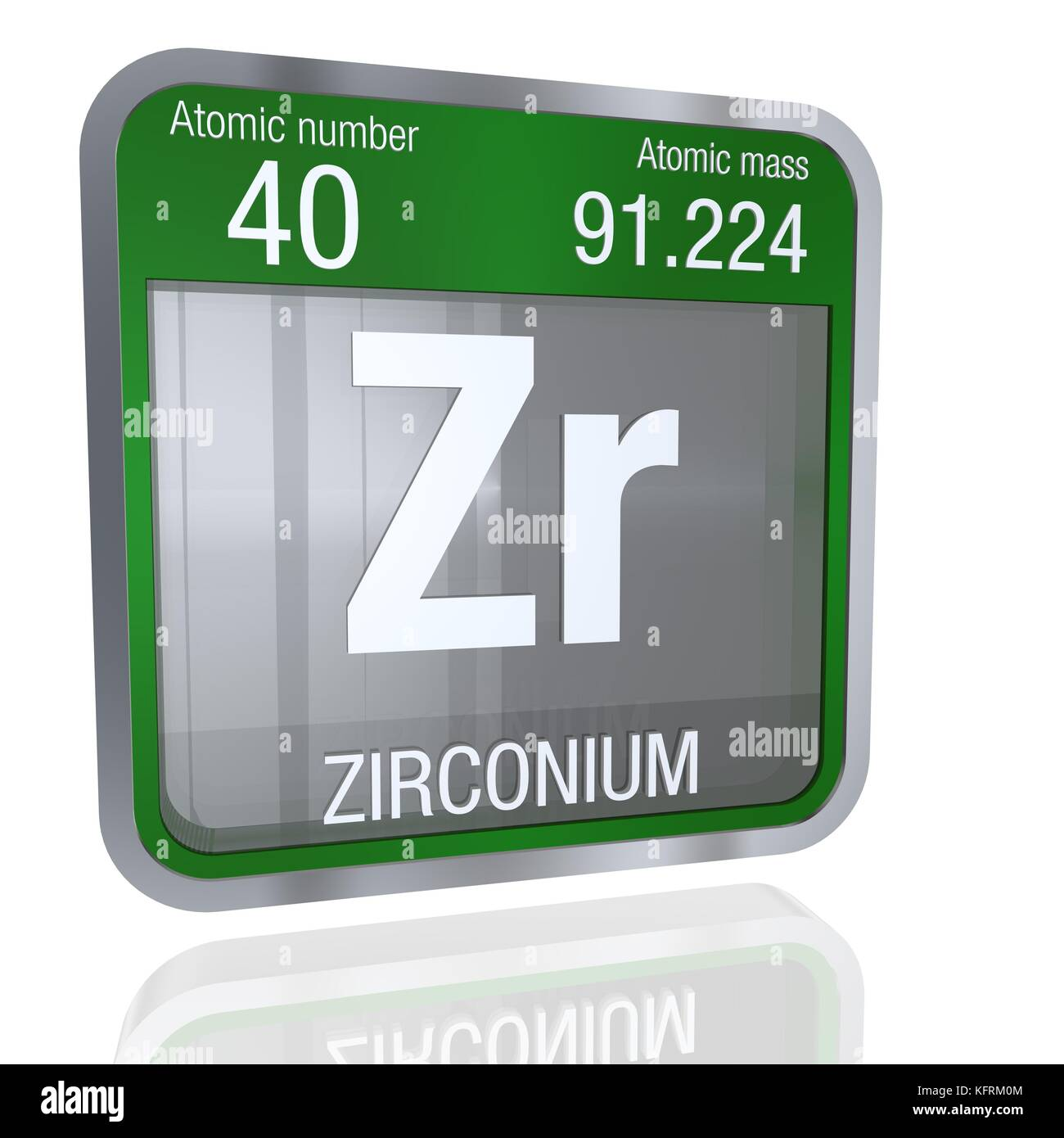 Zirconium stock photos zirconium stock images alamy zirconium symbol in square shape with metallic border and transparent background with reflection on the floor gamestrikefo Images