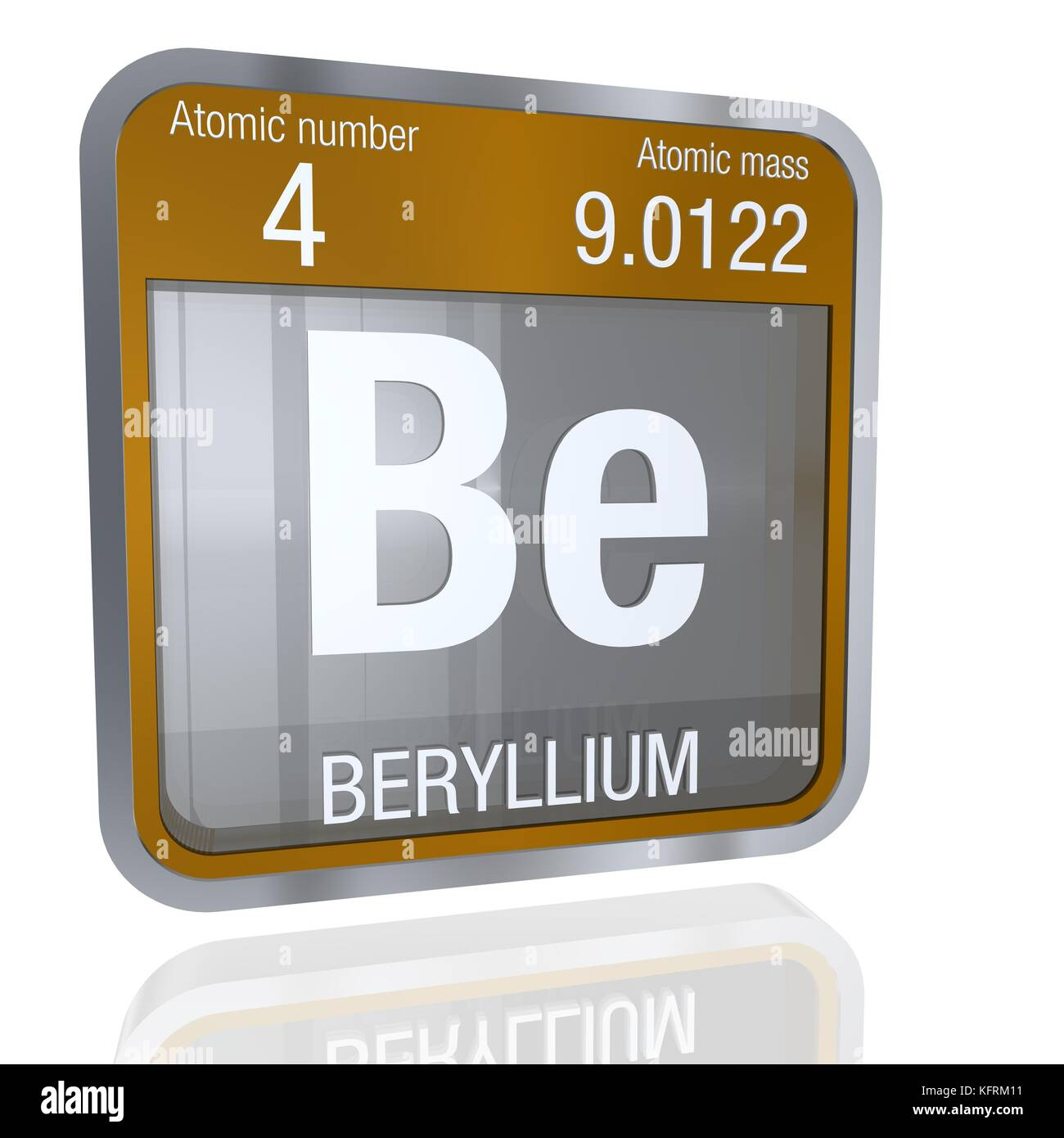 Beryllium symbol in square shape with metallic border and stock beryllium symbol in square shape with metallic border and transparent background with reflection on the floor 3d render element number 4 of the per biocorpaavc Images