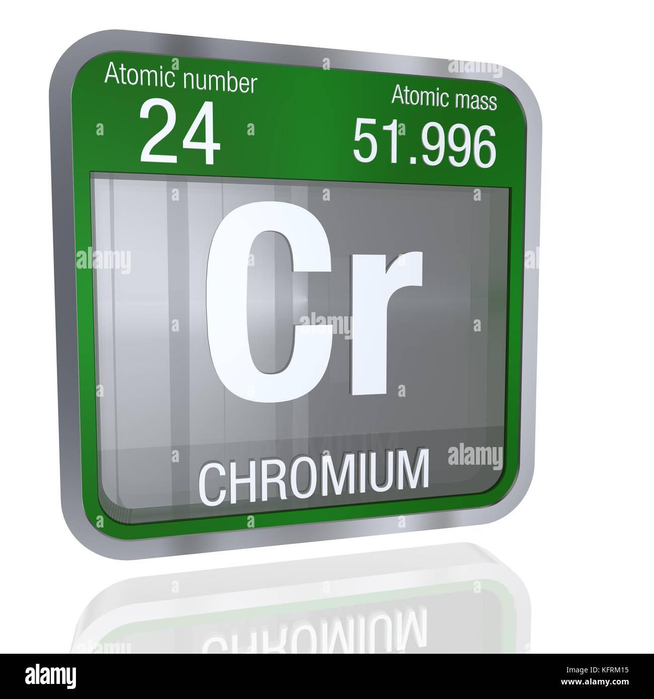 Chromium Symbol In Square Shape With Metallic Border And Transparent