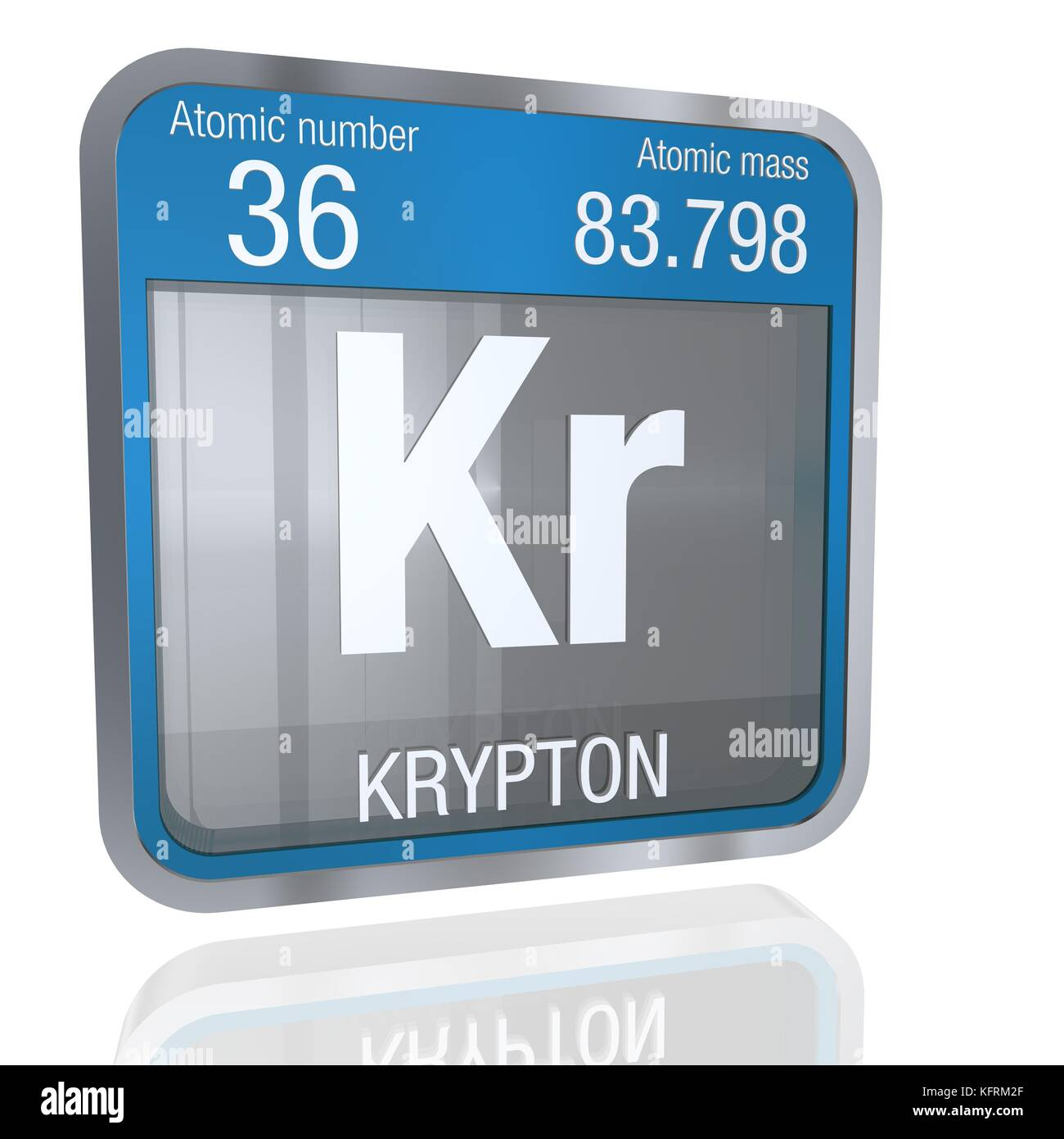 Krypton symbol in square shape with metallic border and krypton symbol in square shape with metallic border and transparent background with reflection on the floor 3d render element number 36 of the peri buycottarizona