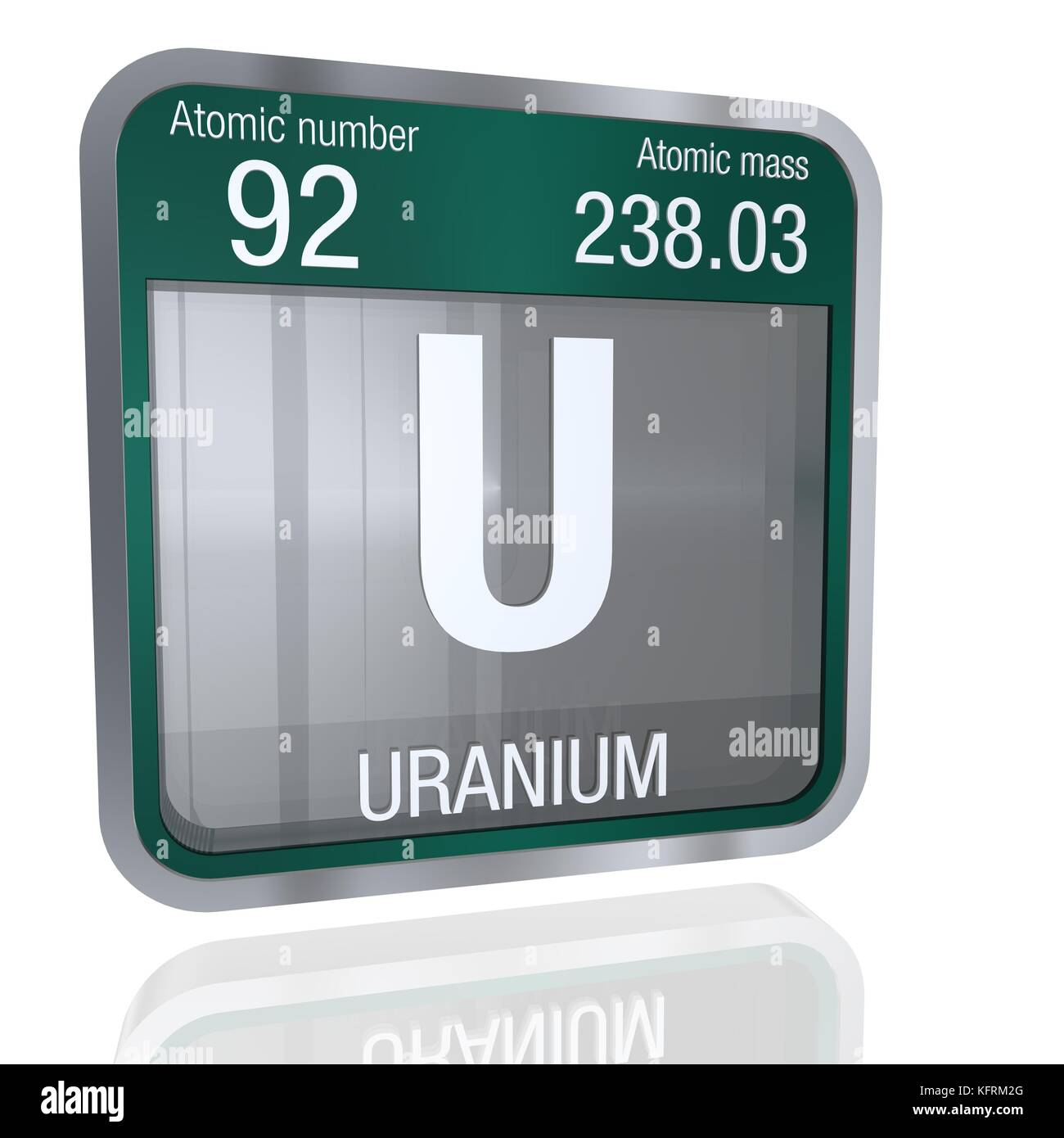 Uranium symbol in square shape with metallic border and uranium symbol in square shape with metallic border and transparent background with reflection on the floor 3d render element number 92 of the peri buycottarizona