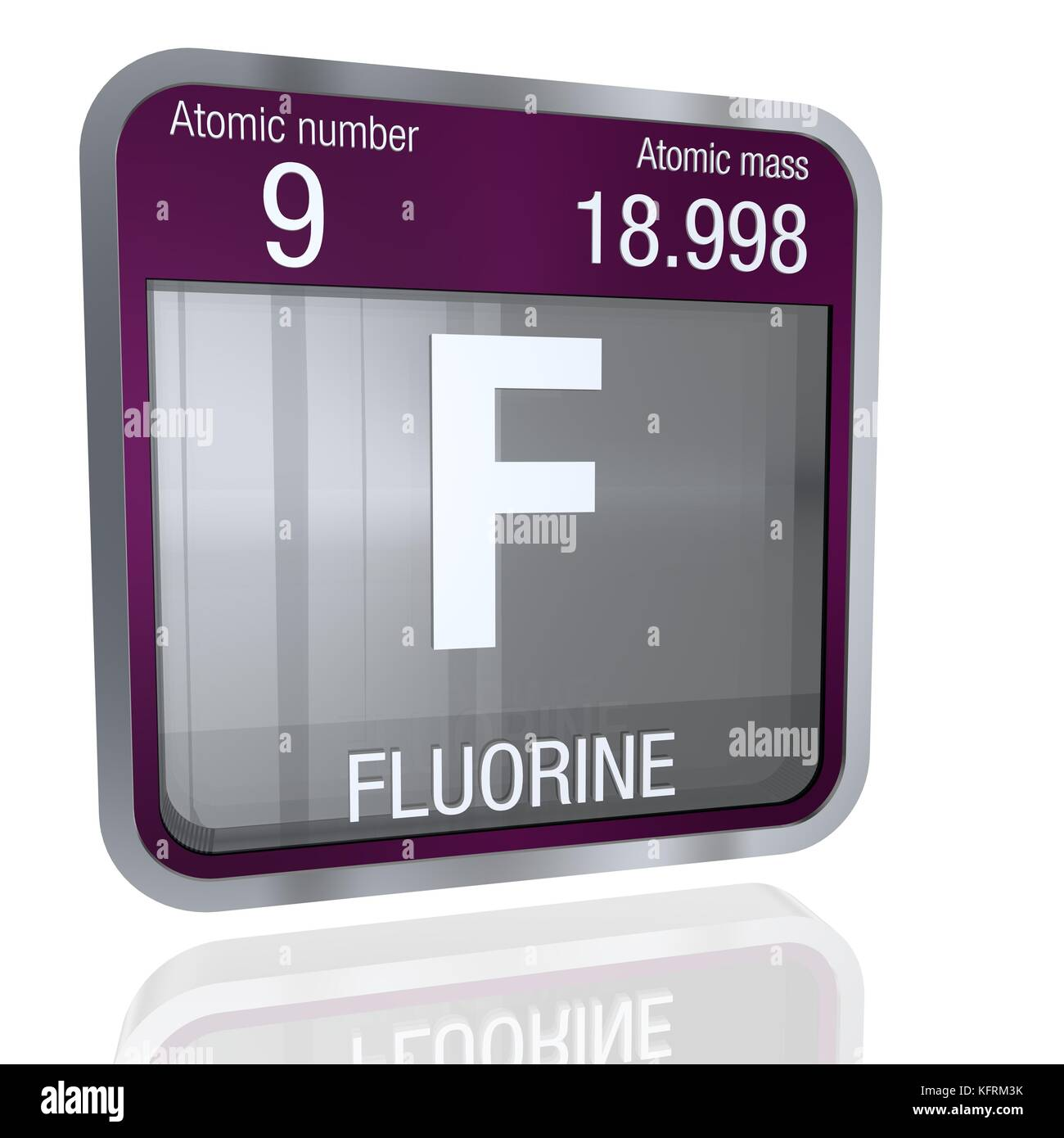 Fluorine Symbol In Square Shape With Metallic Border And Transparent