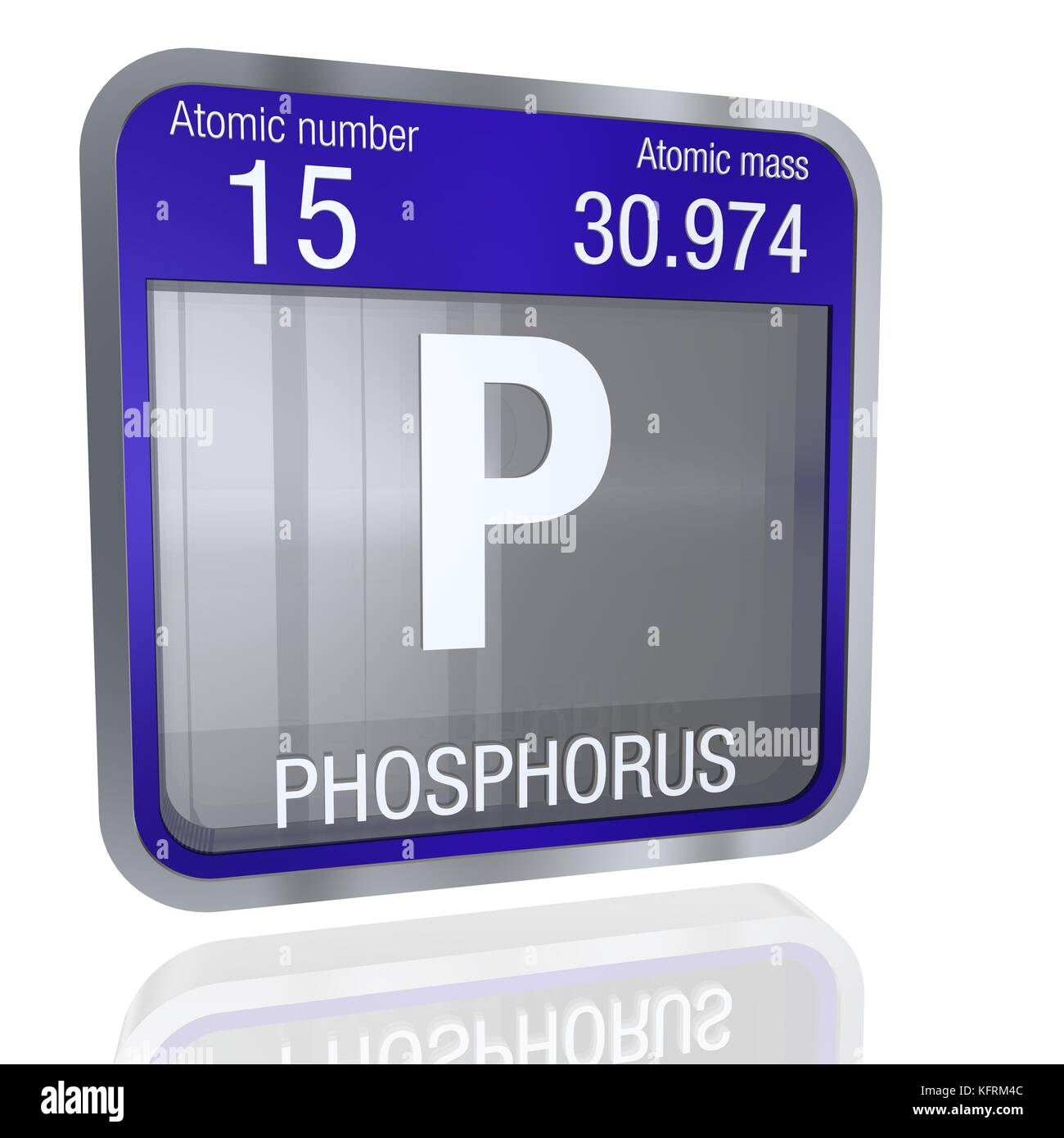 Phosphorus Symbol In Square Shape With Metallic Border And Stock