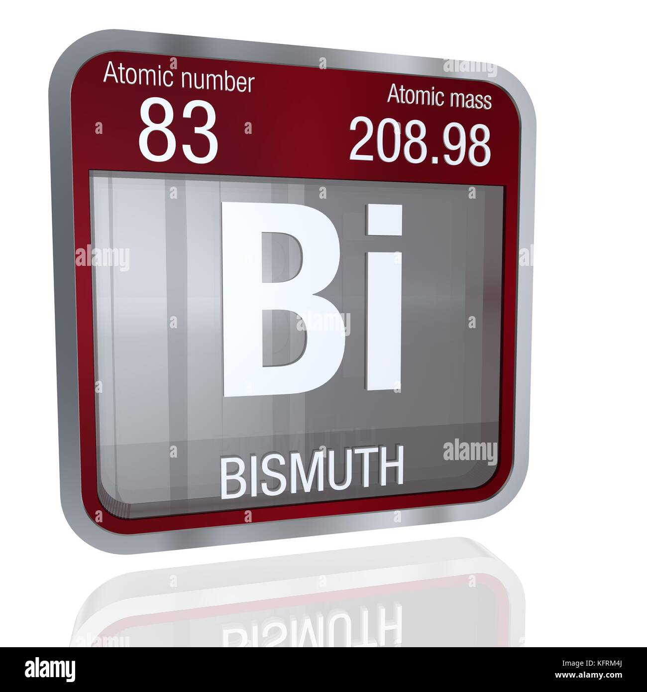 Bismuth symbol in square shape with metallic border and bismuth symbol in square shape with metallic border and transparent background with reflection on the floor 3d render element number 83 of the peri buycottarizona