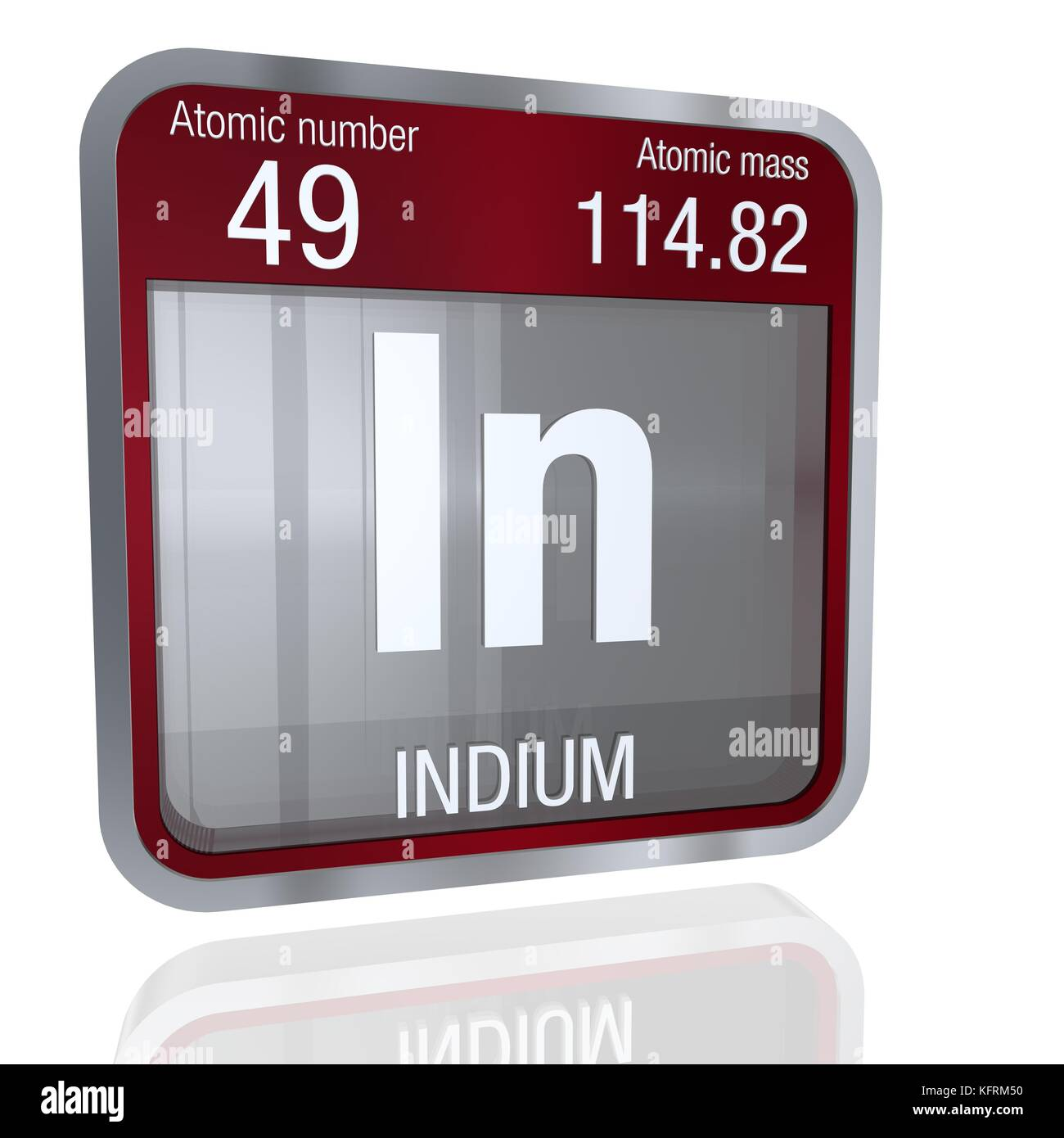 Indium symbol in square shape with metallic border and transparent indium symbol in square shape with metallic border and transparent background with reflection on the floor 3d render element number 49 of the perio biocorpaavc Images