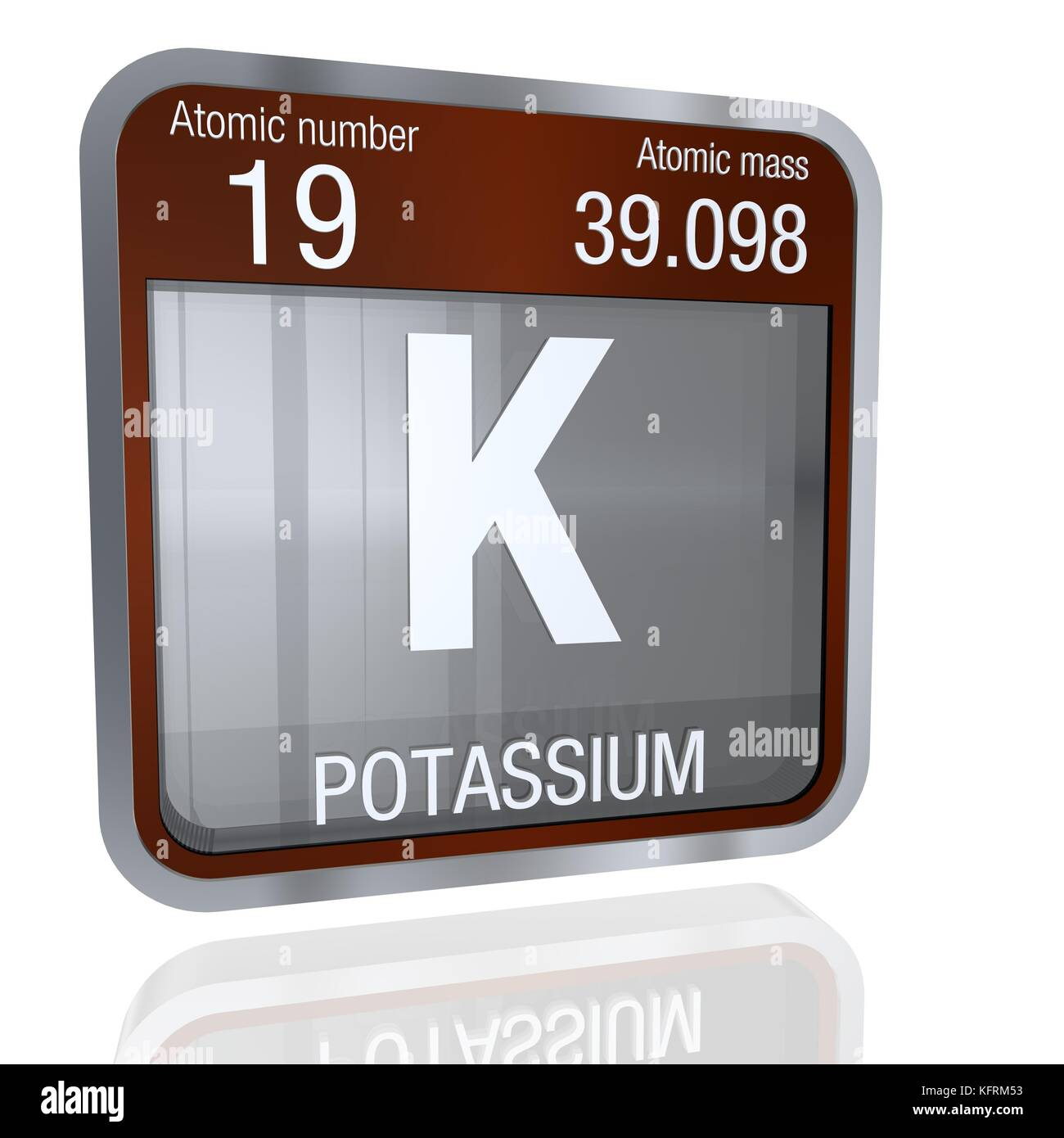 Potassium symbol in square shape with metallic border and stock potassium symbol in square shape with metallic border and transparent background with reflection on the floor 3d render element number 19 of the pe buycottarizona