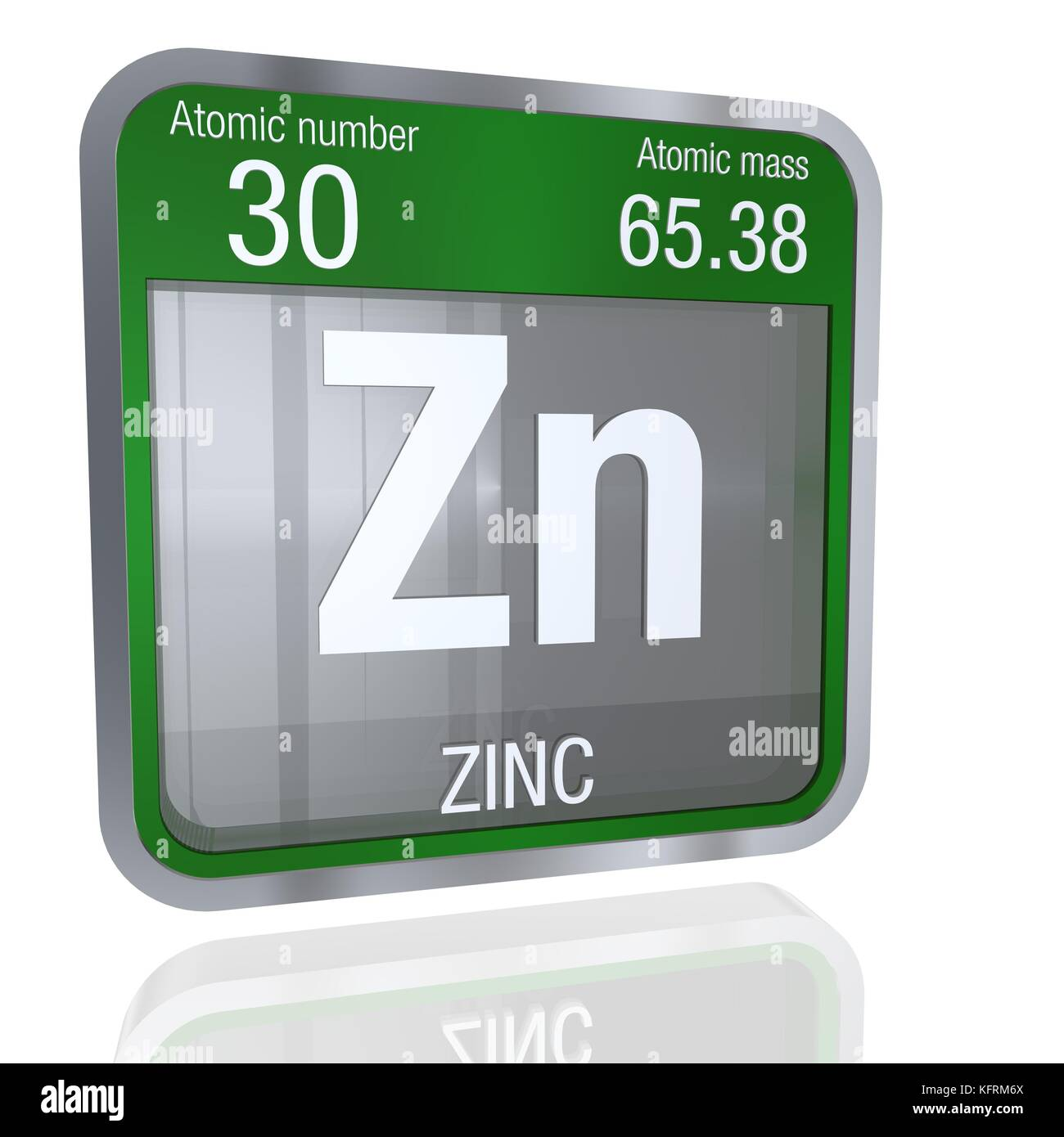 Zinc symbol in square shape with metallic border and transparent zinc symbol in square shape with metallic border and transparent background with reflection on the floor 3d render element number 30 of the periodi buycottarizona Gallery