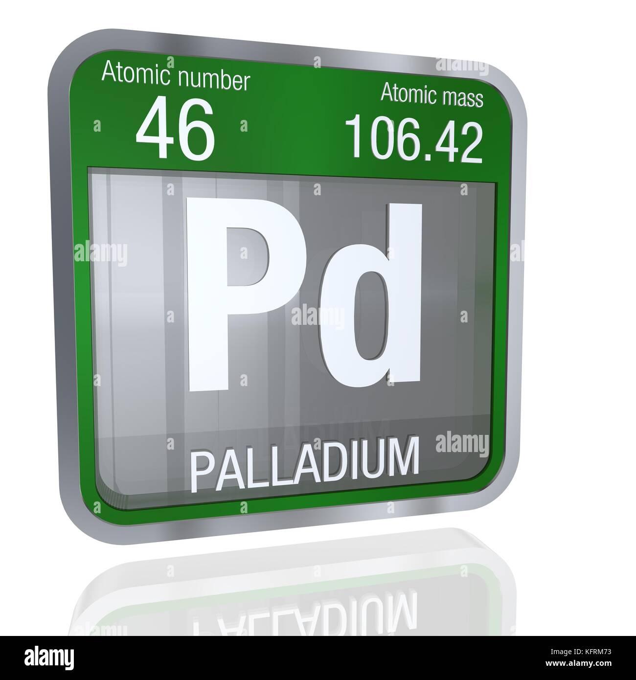 Palladium Symbol In Square Shape With Metallic Border And Stock