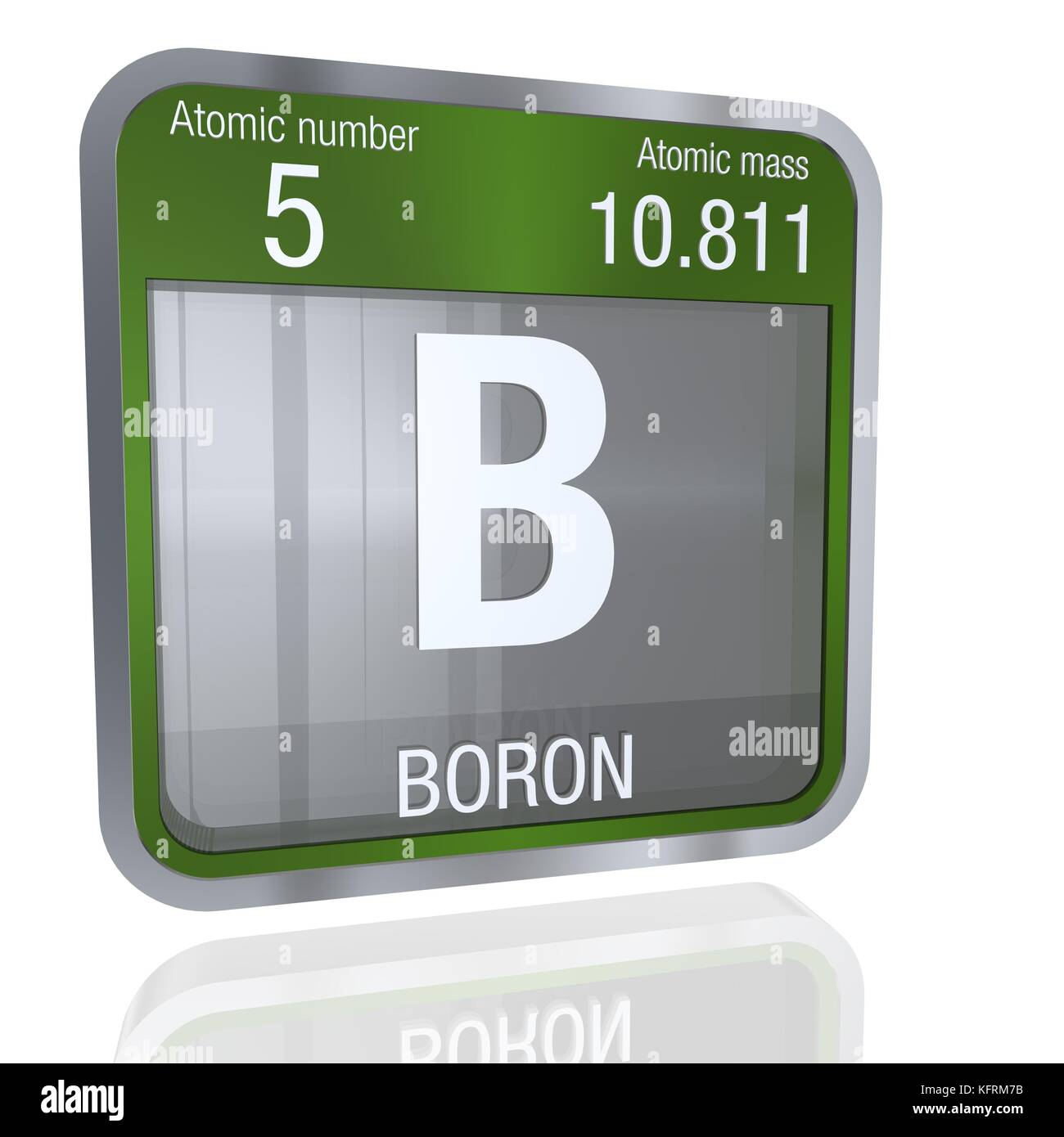 Chemical element boron stock photos chemical element boron stock boron symbol in square shape with metallic border and transparent background with reflection on the floor gamestrikefo Image collections