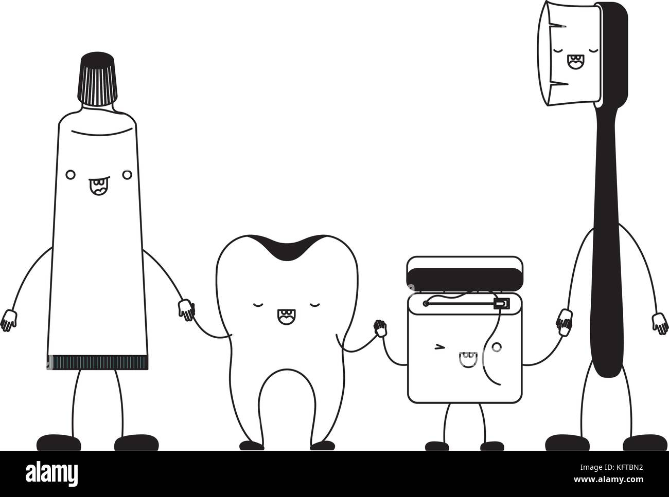 9cfffcea4 tooth and toothpaste and dental floss and toothbrush in cartoon holding  hands in black silhouette