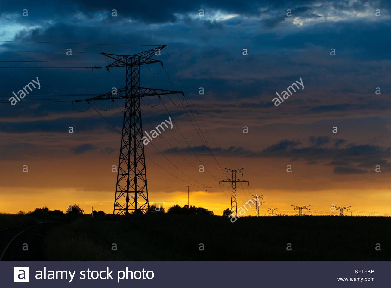 Sunset Telephone Poles Stock Photos & Sunset Telephone ...
