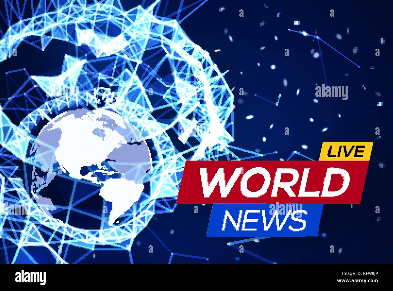 Breaking News Banner On Blue Glowing Plexus Structure Background With Earth Planet America Flares Particles World Abstract Geometric Network
