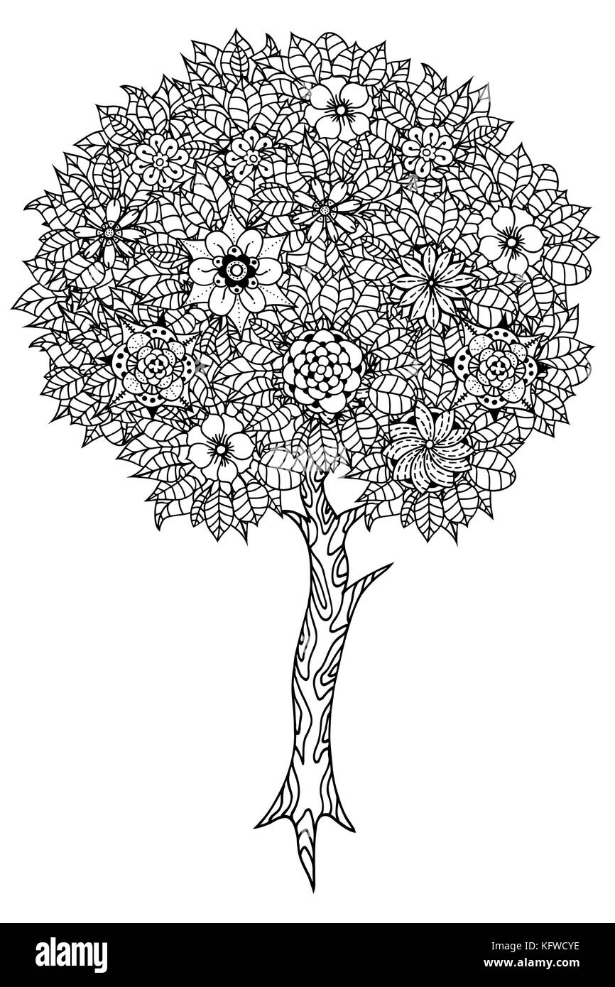 Tree with leaves and flowers. Vector. Coloring book page for adults ...