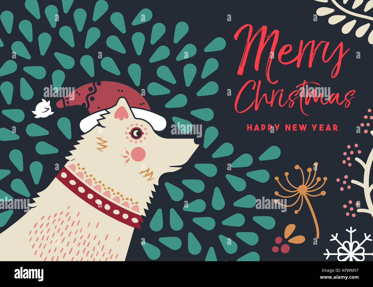 Merry Christmas Happy New Year Holiday Greeting Card Dog Portrait