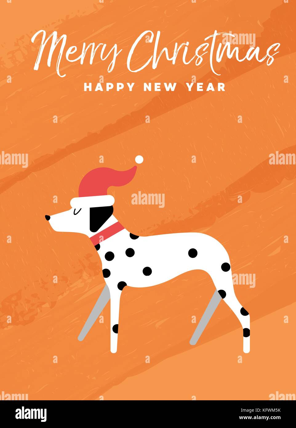 Merry Christmas And Happy New Year Holiday Greeting Card Stock