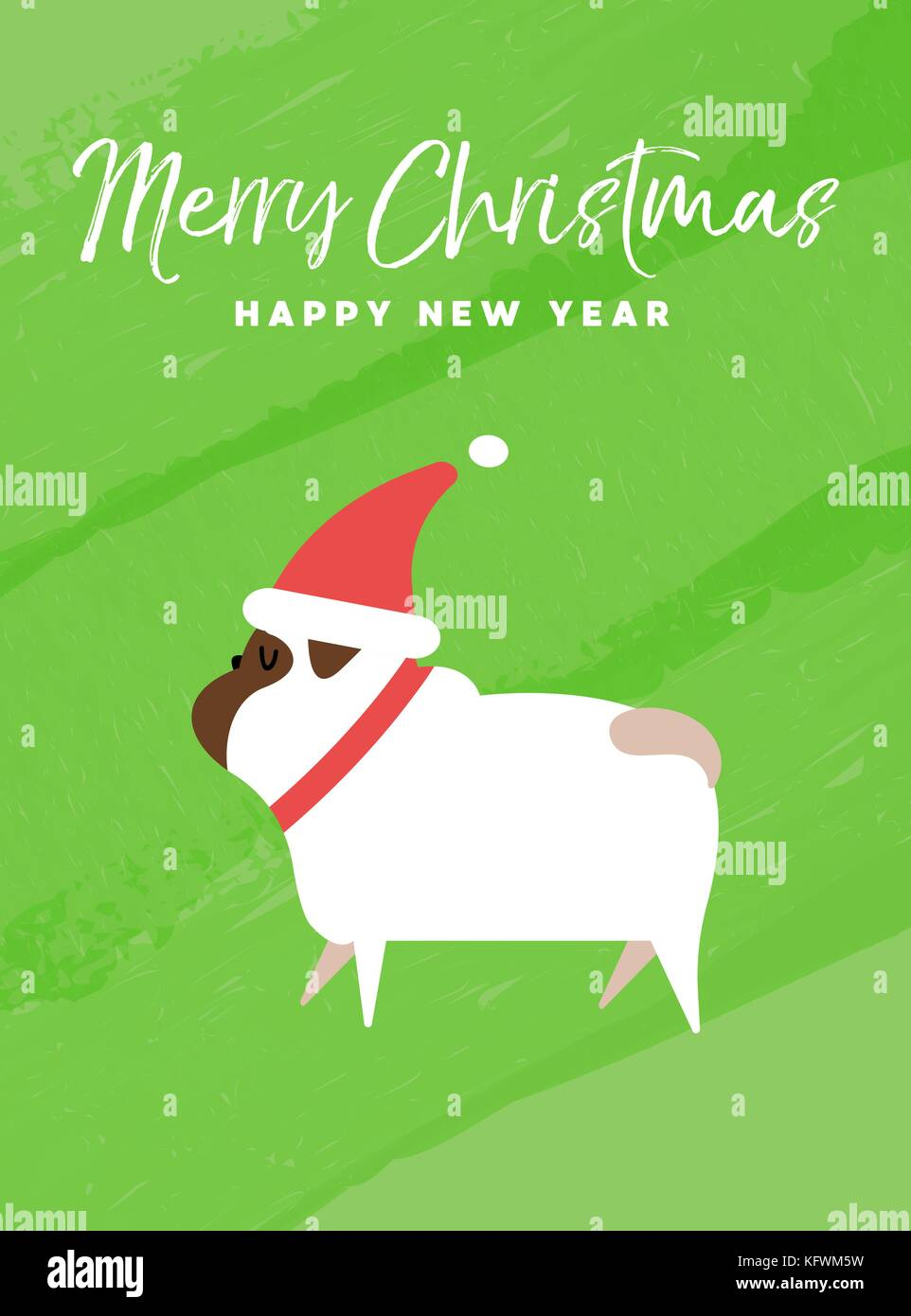Merry christmas and happy new year holiday greeting card stock merry christmas and happy new year holiday greeting card illustration funny pug dog with santa claus hat on colorful texture background eps10 vector m4hsunfo