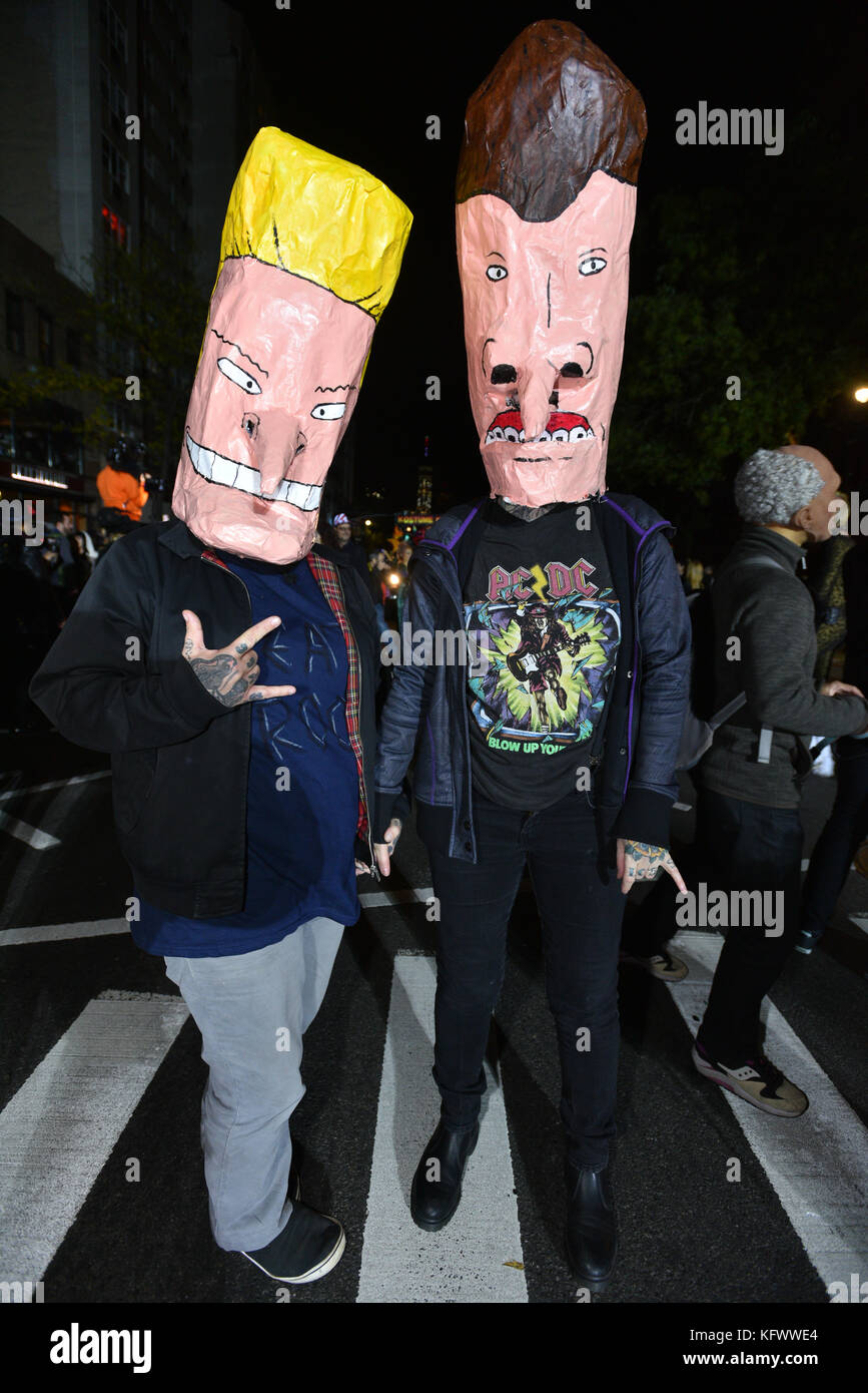 participants wearing different costumes march during halloween parade in lower manhattan of new york united state on october 31 2017 credit erik