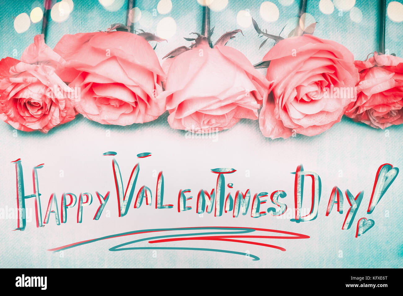 Happy Valentines Day Greeting Handwritten With Pink Roses And