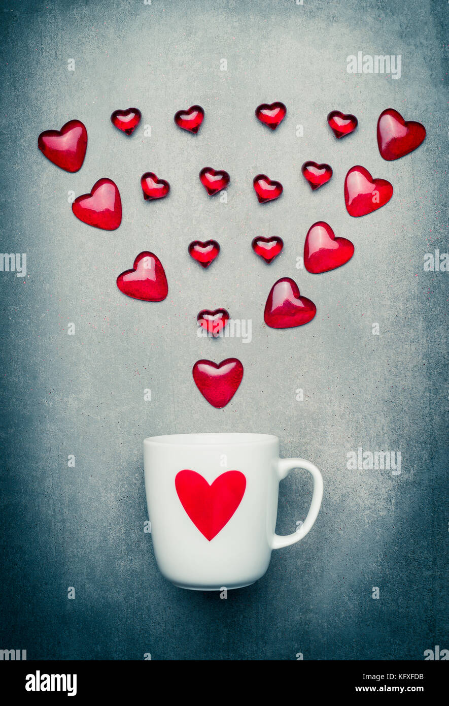 Mug and red hearts arrow romantic love symbols valentines day mug and red hearts arrow romantic love symbols valentines day or birthday concept place for text biocorpaavc