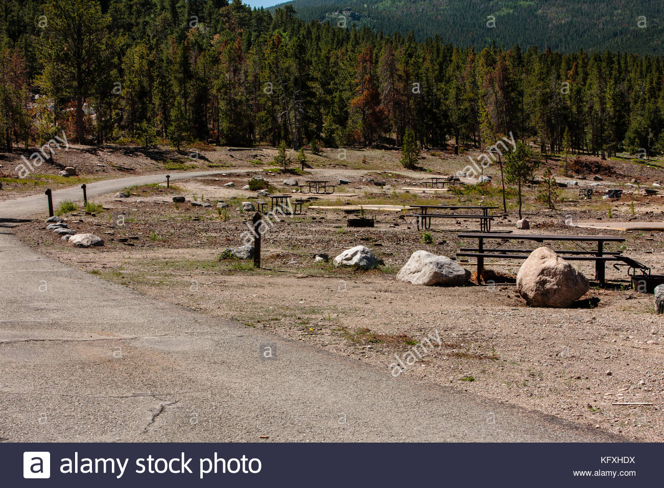 Rocky mountain national park campground stock photos for Rocky mountain state park cabins