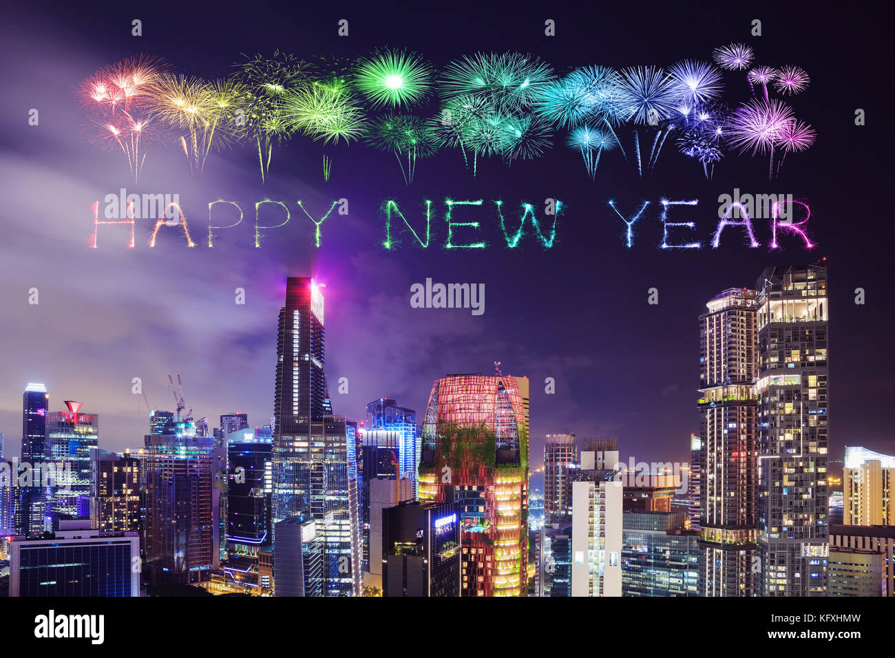 happy new year firework sparkle with cityscape view of singapore city at night