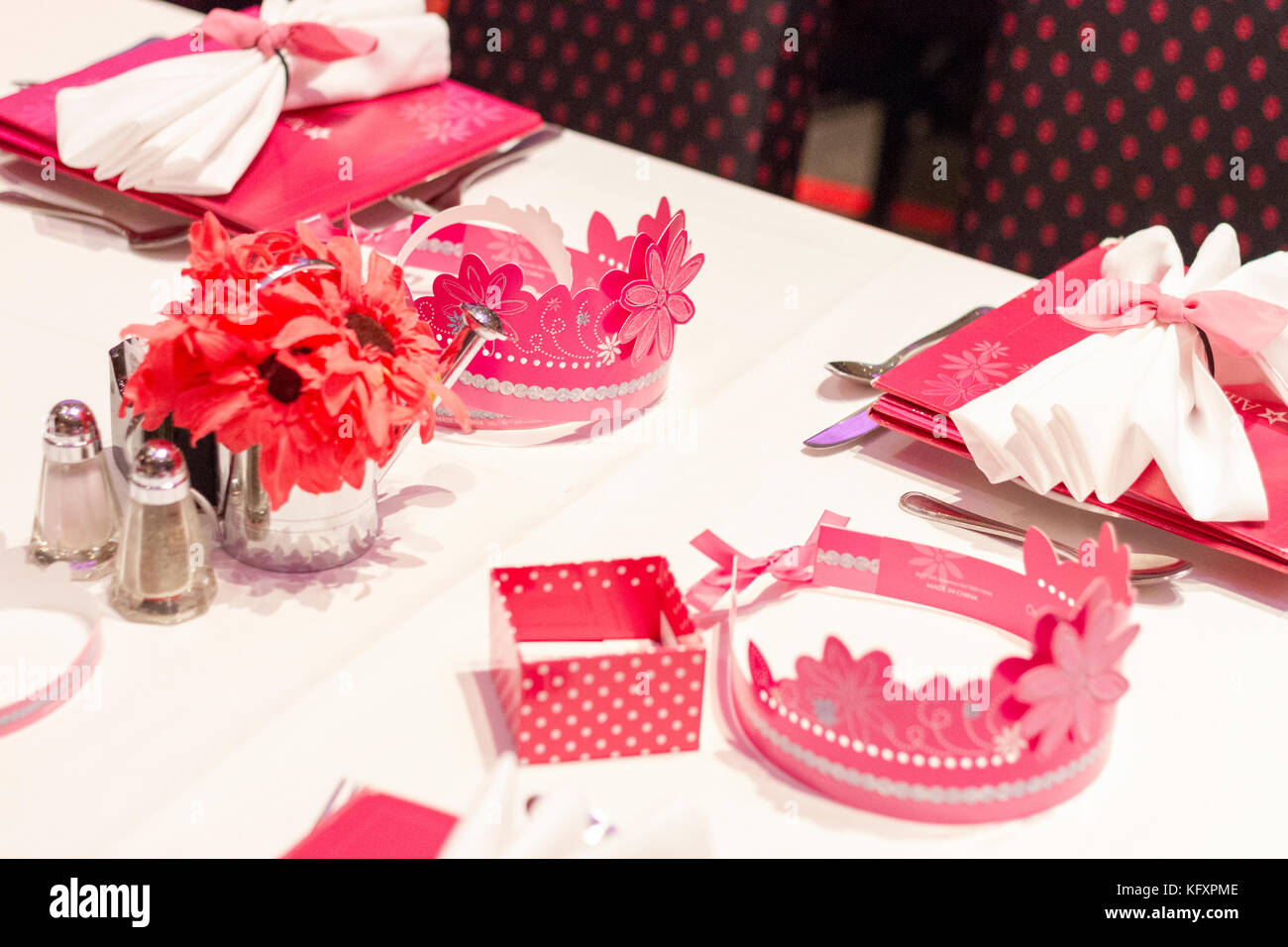 New York City - November 19, 2015: Close up of the table set for a ...