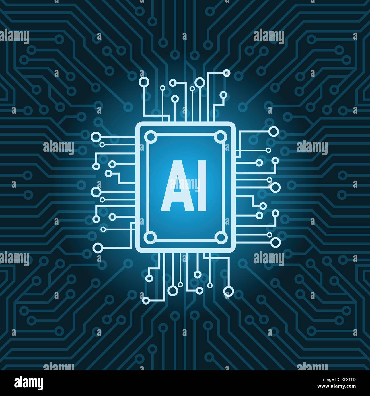Artificial Intelligence Chip On Circuit Motherboard Background Or Photo Of Board Skinned Human Close Up And Binary Code Modern Technology Concept