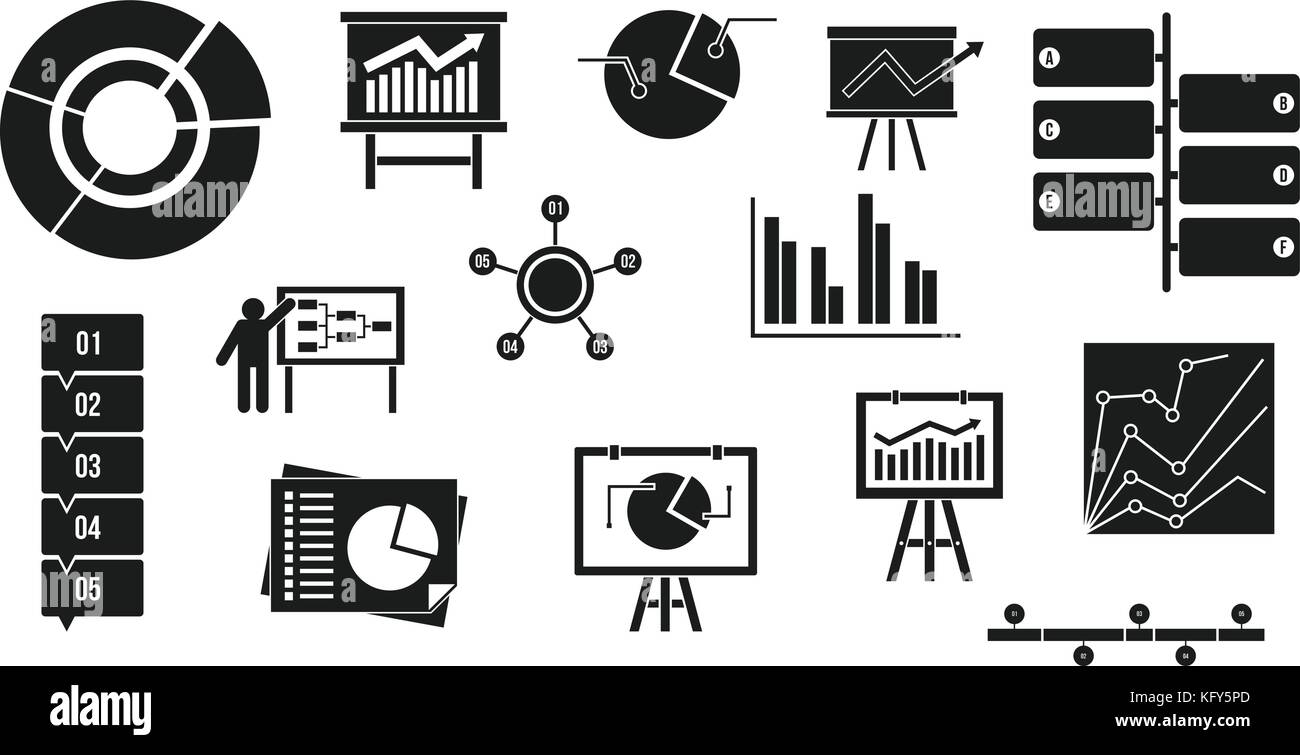 Diagram Icon Set Simple Style Stock Vector Art Illustration Pd