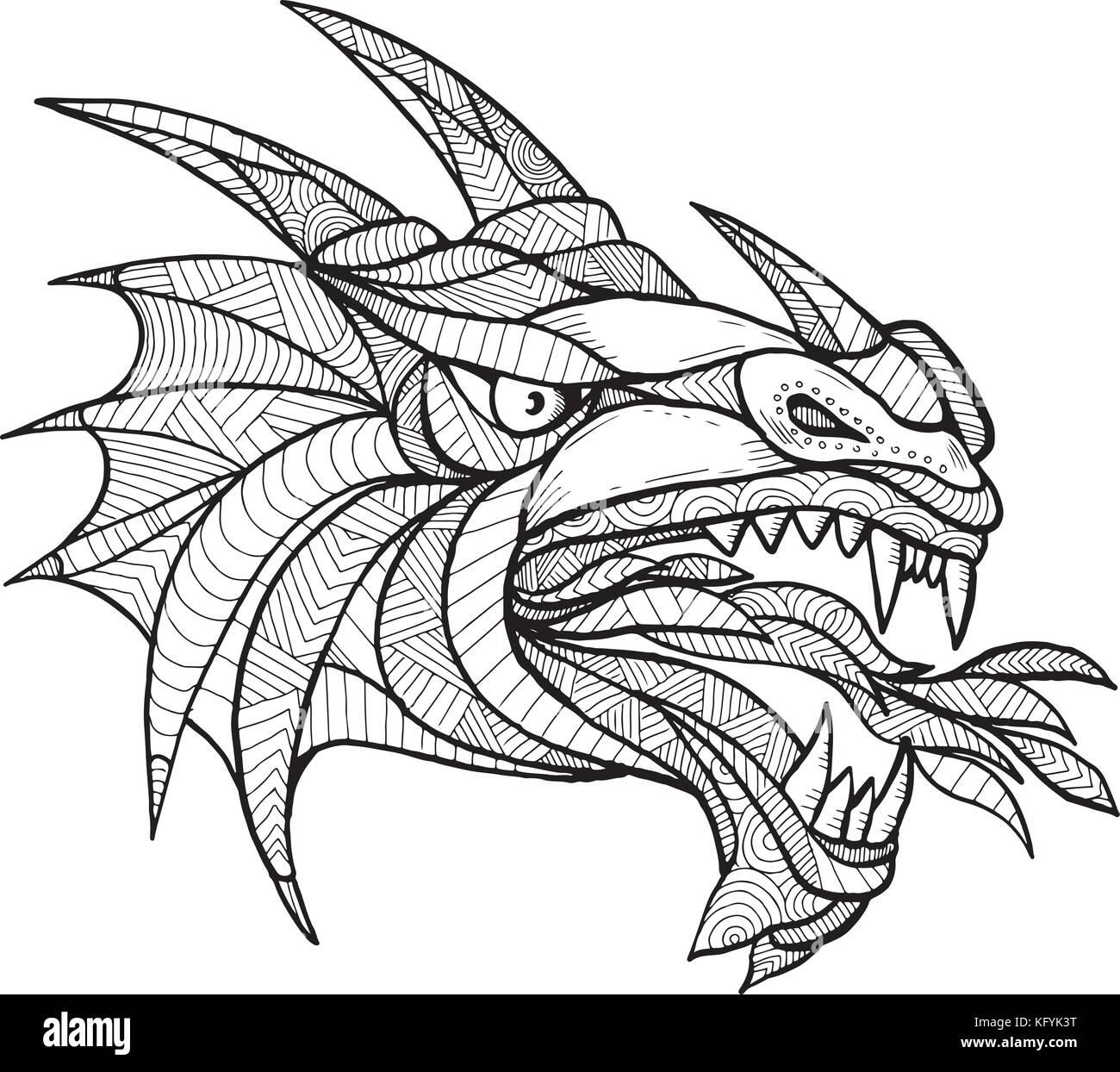 Zentangle inspired stock photos zentangle inspired stock images alamy - Mandala de dragon ...