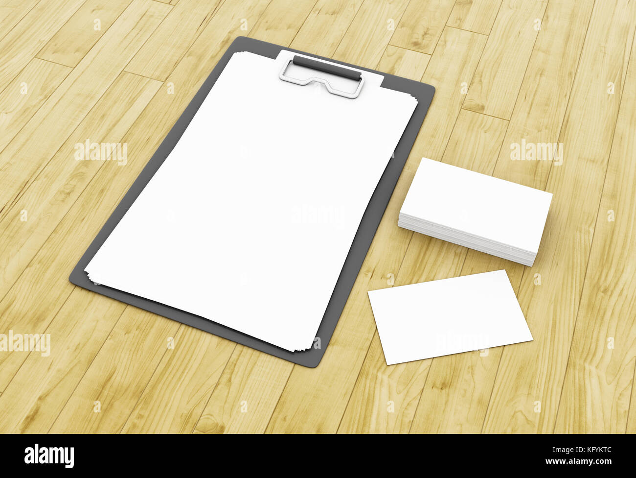 3d illustration. Business cards and blank notepads on wooden table ...
