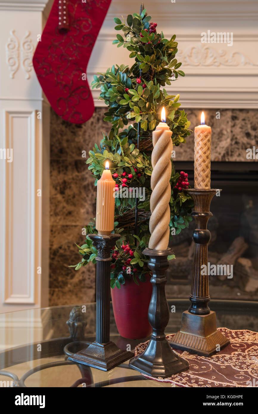 fireplace christmas candles stock photos u0026 fireplace christmas