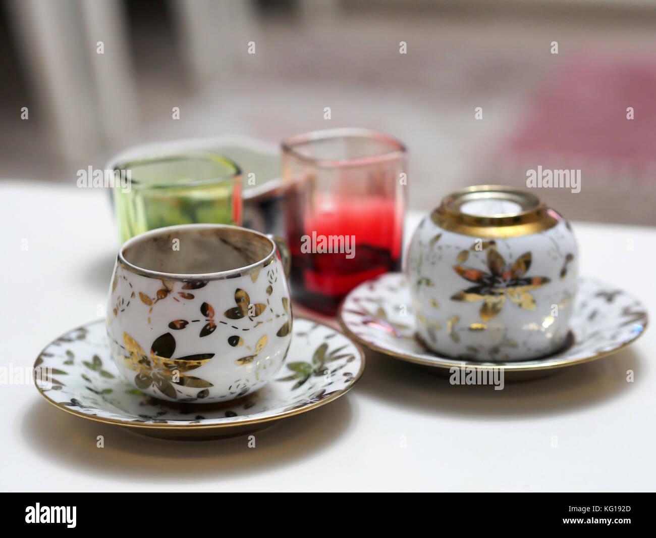 Turkish coffee cup stock photos turkish coffee cup stock images turkish coffee cup and coffee fal on table stock image buycottarizona Image collections