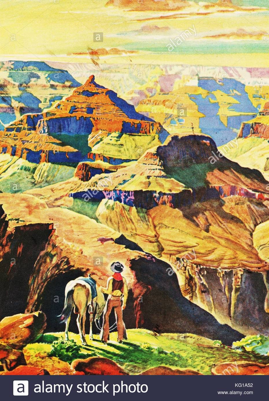 Grand Canyon, Arizona in a painting showing a young man with his ...