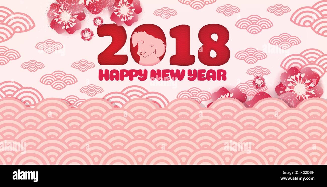 happy chinese new year 2018 card and dog blossom background