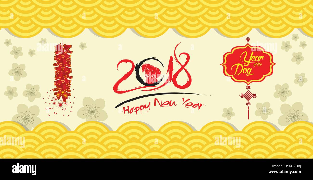 happy chinese new year 2018 card and firecracker blossom background