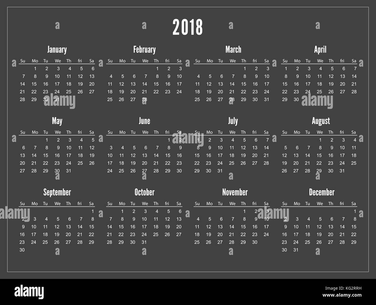simple pocket calendar 2018 year on black background
