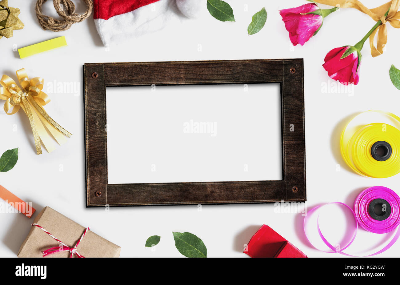 Christmas decorations background. Blank wooden picture frame with ...