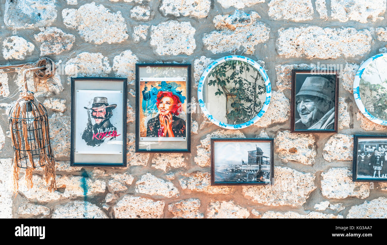 Frames with photos of famous Turkish people and places are on white ...