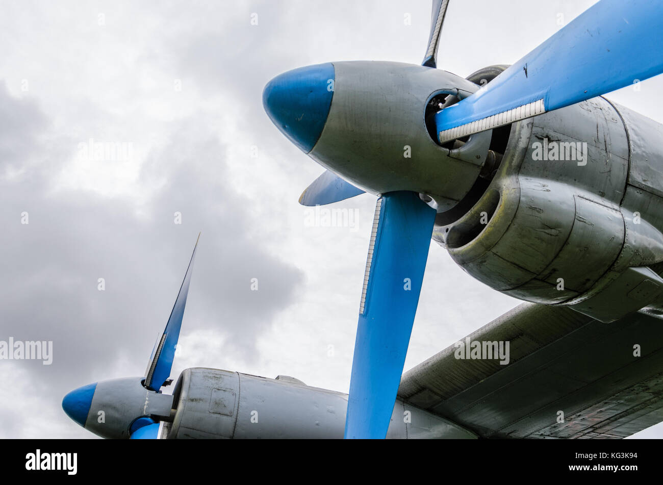 Close up of airplane turboprop engine with propeller, parts