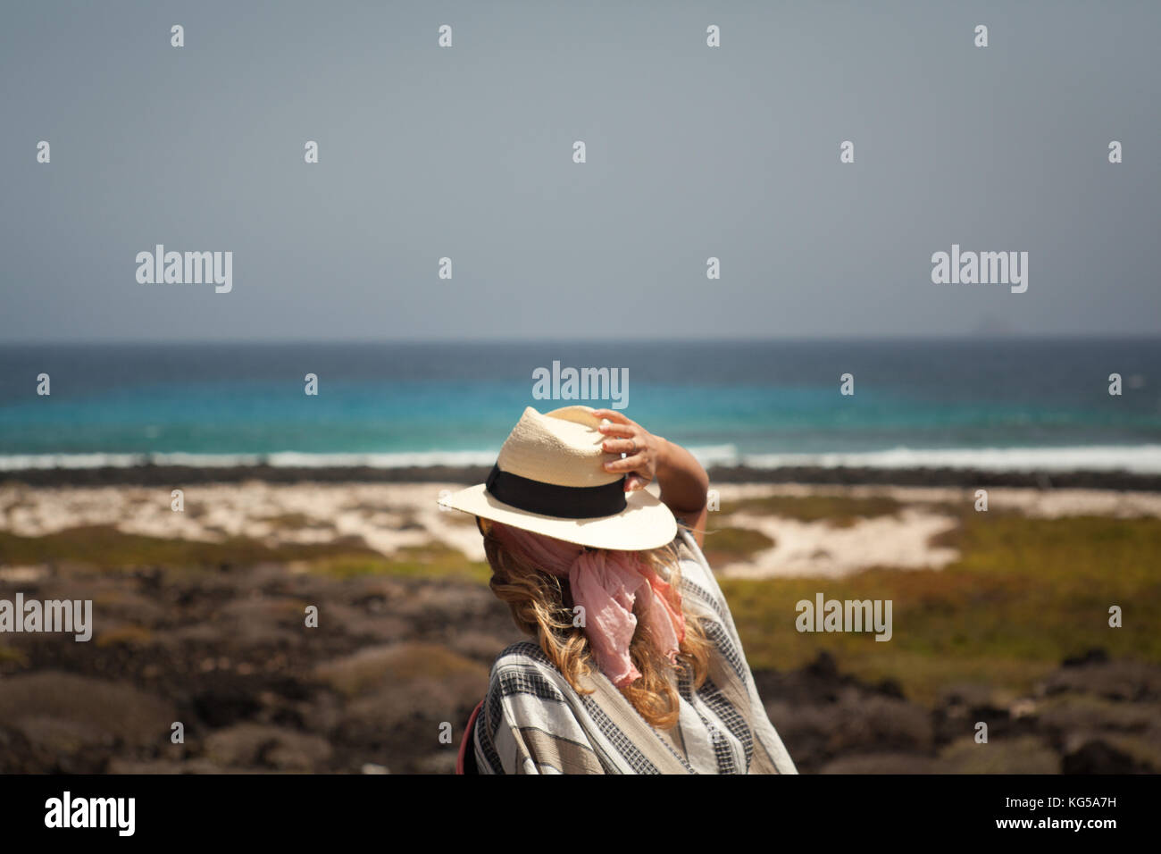 Lanzarote girl beach stock photos lanzarote girl beach - Standing canarias ...